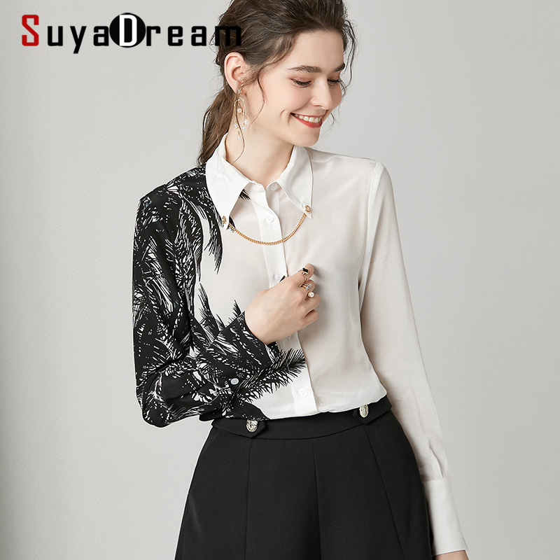 SuyaDream Women White Black Contrast Blouses 100%Silk Crepe 2020 Spring Long Sleeved Turn Down Collar Office Blouse Shirt