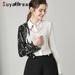 SuyaDream Women White Black Contrast Blouses 100%Silk Crepe 2020 Spring Long Sleeved Turn Down Collar Office Blouse Shirt
