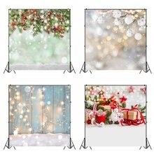 Laeacco חג המולד תפאורות עץ לוח אור Bokeh חורף שלג צילום רקע תינוק יילוד דיוקן שיחת וידאו אבזרי