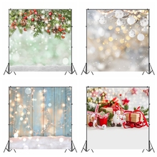 Laeacco Christmas Backdrops Wooden Board Light Bokeh Winter Snow Photography Backgrounds Baby Newborn Portrait Photocall Props
