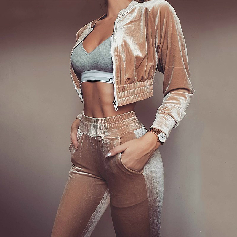 TAUPIN AM Velvet Tracksuits Casual Two Piece Sets Long Sleeve Crop Top Long Pants 2 Pieces Sets Women Outfits Velour Tracksuit