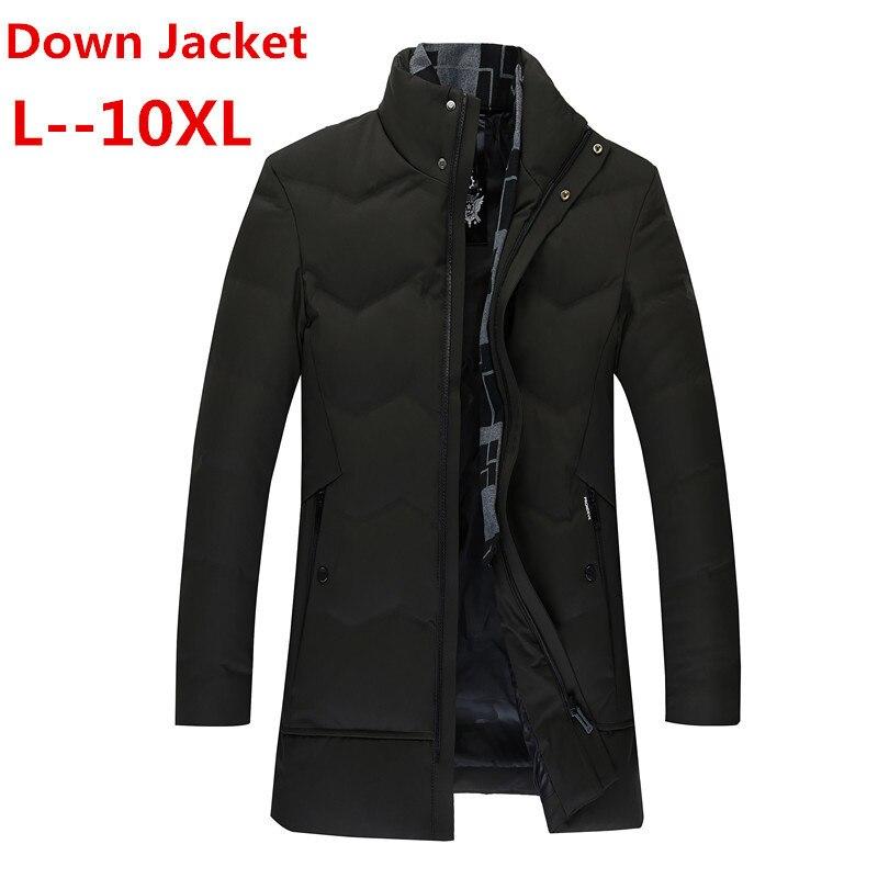10XL 8XL 6XL 5XL  New Thick Winter Men's White Down Jacket Brand Clothing Black Long Warm White Duck Down Jacket Male Coats