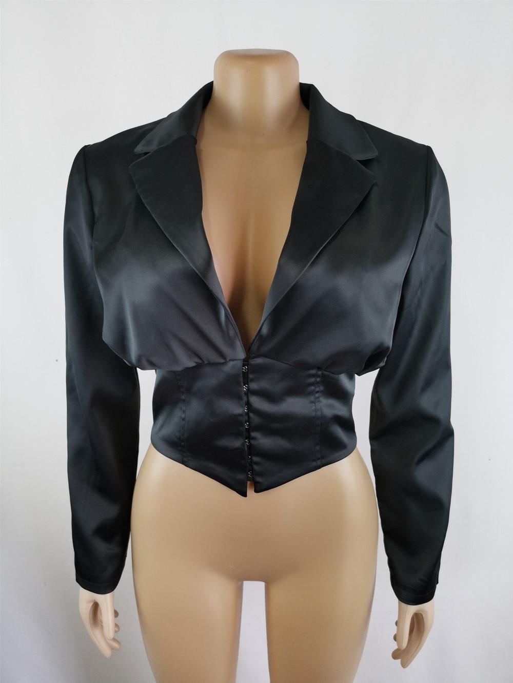 STYLISH LADY Single Breased Satin Short Blazer 2020 Spring Summer Women Long Sleeve Deep V Neck Crop Top Blazer Office Jacket