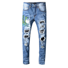 New Men's male blue snake embroidery skinny jeans Streetwear PU leather patchwork holes ripped stretch denim pants trousers