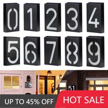 Lampa słoneczna LED numery ogrodowe adres znak podświetlana dioda LED tablice zewnętrzne jasna dekoracja drzwi wzór cyfrowy wpis bramy tanie tanio CN (pochodzenie)