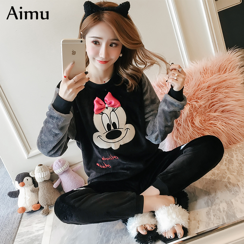 Korean Flannel Warm Pajamas For Women Long Sleeve Home Suit Ladies Sleepwear Cartoon Velvet Pajama Set Thick Feminino Pyjamas
