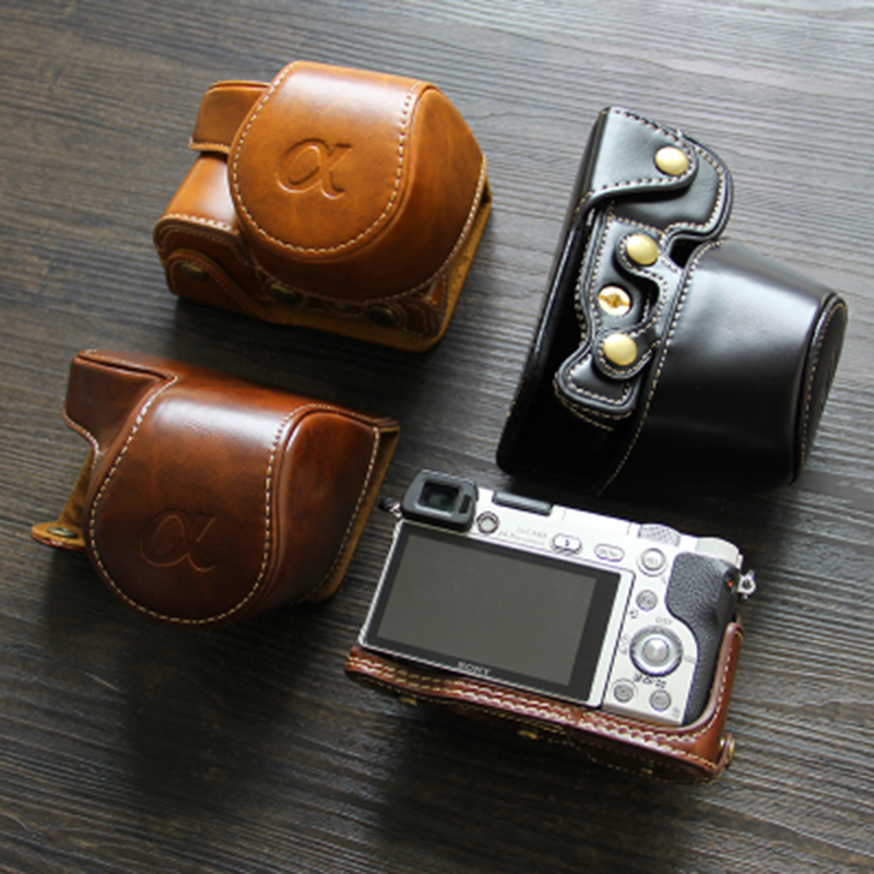 Camera Leather Full Body Camera PU Leather Case Bag with Strap for Sony A5100 Camera Cases Color : Brown Black