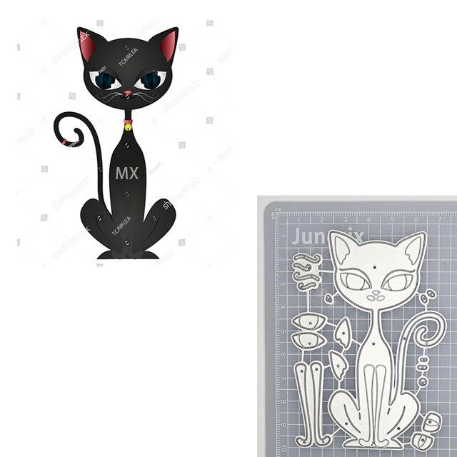 Jolis matrices de découpe en métal chat noir | Pochoir danimaux de compagnie pour cartes de Scrapbooking bricolage, matrices décoratives découpées