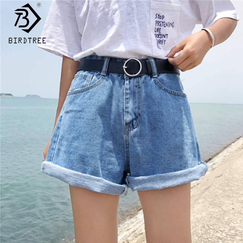2020 Spring And Summer New Women's Casual Loose Denim Shorts Fashion High Waist Wide Leg Shorts Female Bottoms B01413O