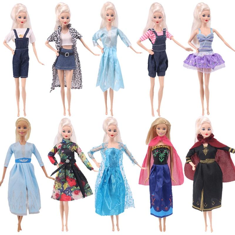 Doll Froezn Dsiney Barbies Elsa Princess Dress Cartoon Denim Skirt Vest Pants Daily Casual Wear Ken Accessories Girl`s Toy DIY