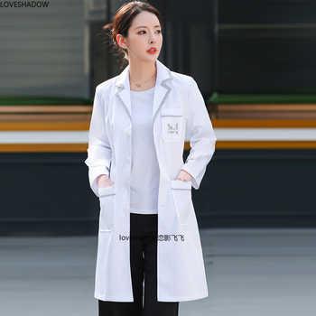 Women\'s Lab Coat Short Sleeve Jacket Color Blocking Uniforms Long Sleeve White Coat