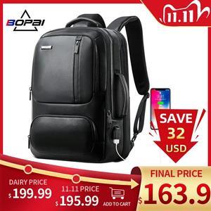 Image 1 - BOPAI mochila de piel auténtica para hombre, morral para ordenador portátil de 15,6 pulgadas, puerto de carga USB, para negocios, para viaje