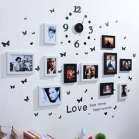 11 box combination photo clock table photo frame wall creative combination hanging photo wall send butterfly paste