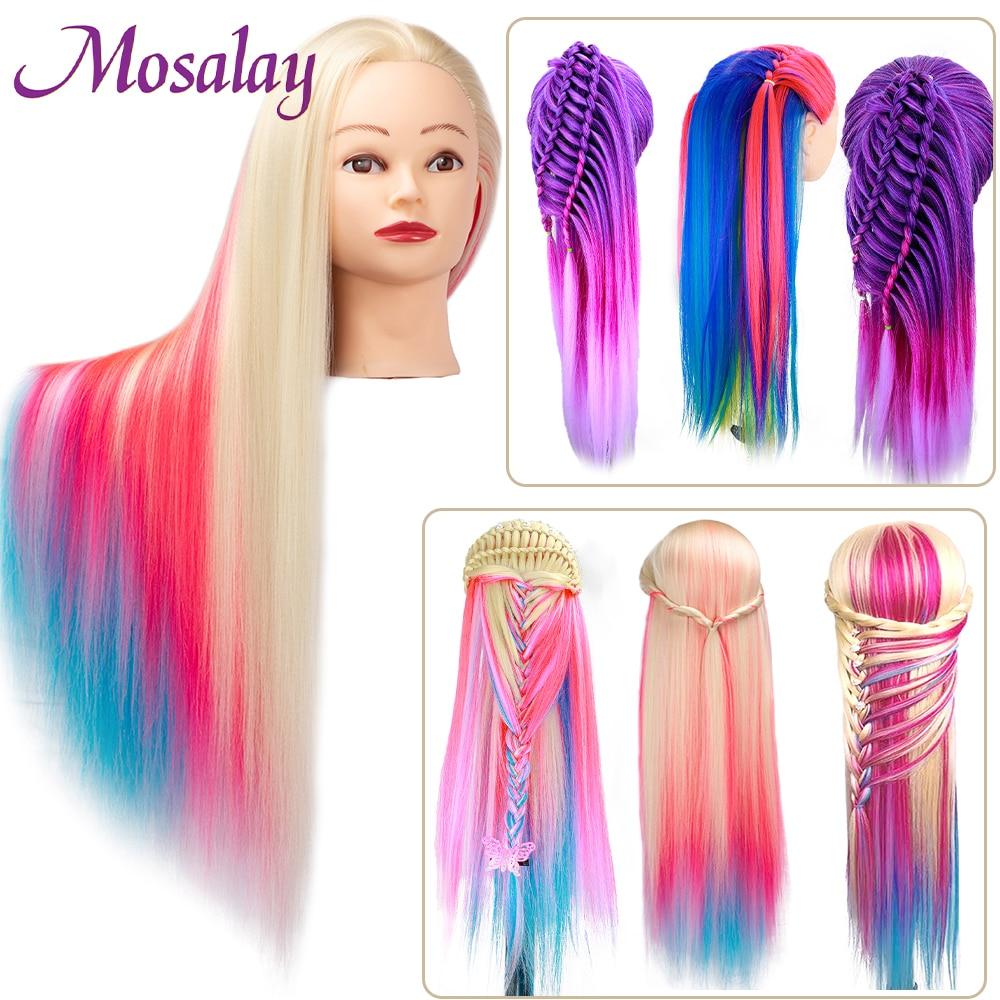 Манекен радужной куклы голова манекена с синтетическими волосами для парикмахерских причесок Парикмахерская стильная тренировочная голо...