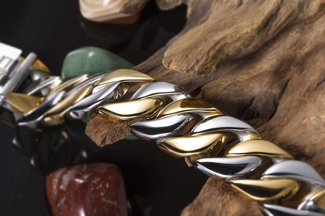 Купить браслет мужской из нержавеющей стали двухцветный длиной 215
