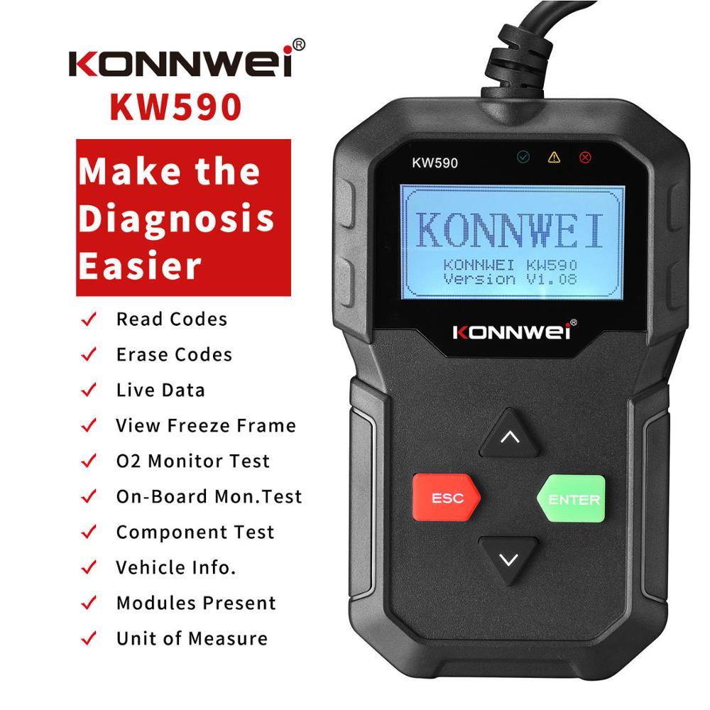 KONNWEI KW590-herramienta de diagnóstico OBD más reciente, lector de códigos de coche automotriz OBD2, compatible con coches y idiomas de varias marcas, 2020