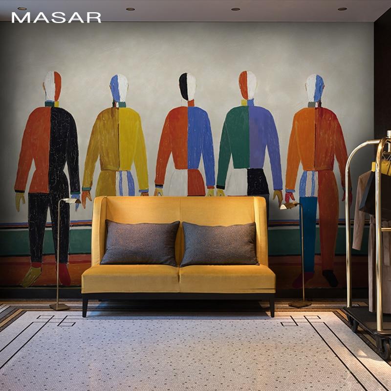 MASAR Original art personnalité peintures murales abstraite personnages salon canapé chevet couloir fond mur papier peint paix