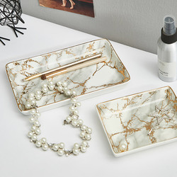 Marble Golden Texture Ceramic Plate Nordic Modern Living Room Decoration Dessert Fruit Snack Ceramic Jewelry Storage Tray