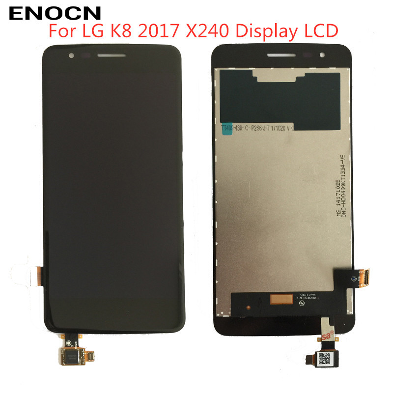 ENOCN Original <font><b>LCD</b></font> For <font><b>LG</b></font> K8 2017 <font><b>X240</b></font> <font><b>LCD</b></font> Display Touch Screen Digitizer with Bezel Frame Full Assembly Black White image