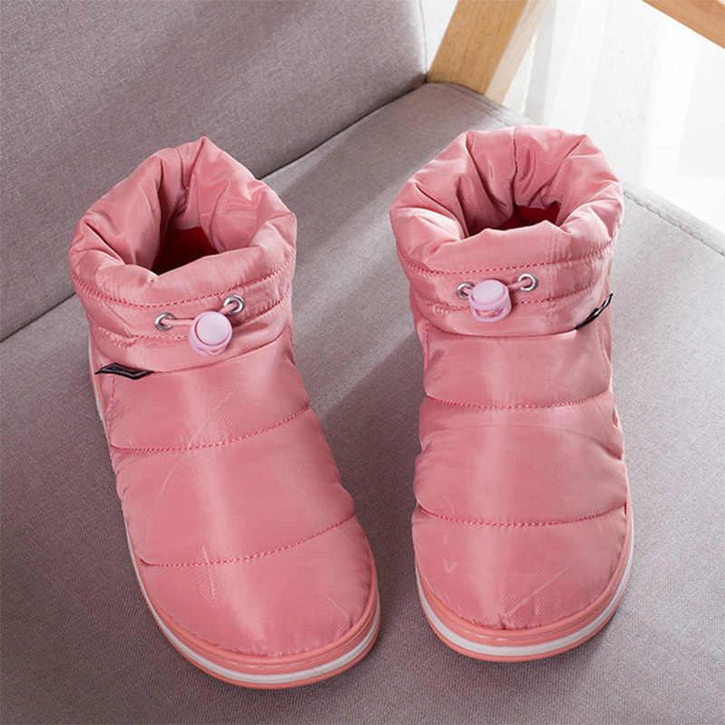 Kadın kış kar botları kadın süper sıcak kayma yarım çizmeler kadın dikiş katı düz kadın moda rahat ev ayakkabıları