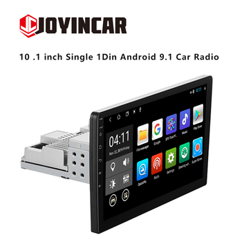 JOYINCAR 10 .1 inch 1Din Android 9.1 Car Radio Multimedia Player Universal Auto Stereo GPS Navigation Bluetooth Audio Video Play image