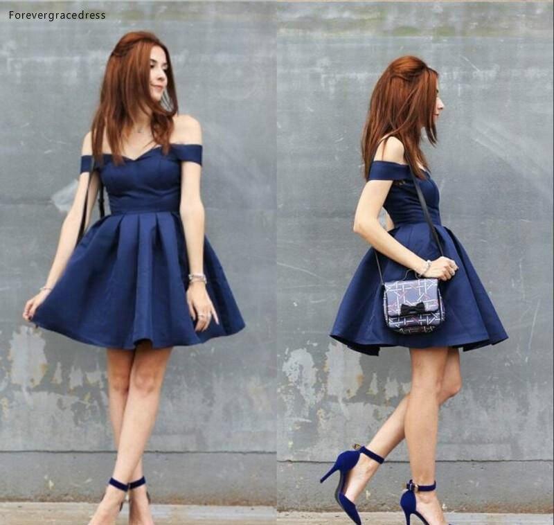 2019 Cheap Short Royal Blue Cocktail Dress A Line Off Shoulders Juniors Sweet 15 Graduation Party Dress Plus Size
