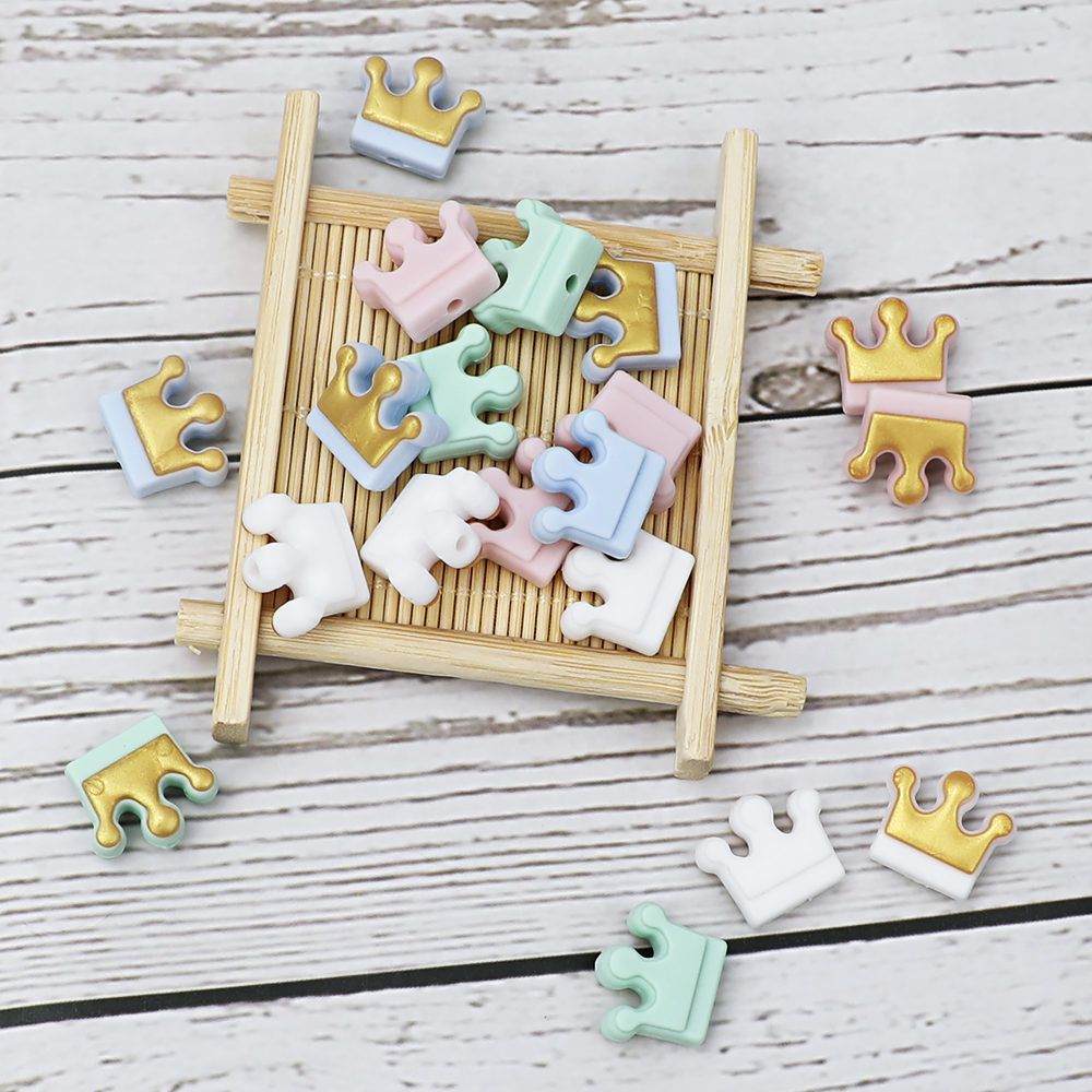 10 PCS Teething Beads Silicone Crown Cartoon Pacifier Clips DIY Cute Chewing Toys Teething Toys Silicone Baby Teether