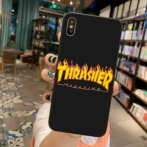 Street fashion brand THRASHER Cover Black Soft Shell Phone Case for iPhone 11 pro XS MAX 8 7 6 6S Plus X 5S SE 2020 XR case(China)