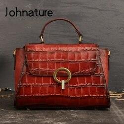 Johnature модная женская сумка 2020 новая ретро натуральная кожаная сумка для отдыха первый слой из воловьей кожи роскошные сумки через плечо