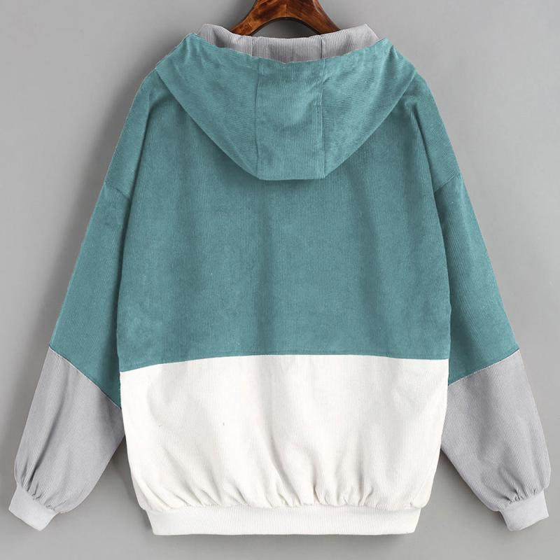 H7c4c6271244a4211aeb92f3e38c47e6f8 Outerwear & Coats Jackets Long Sleeve Corduroy Patchwork Oversize Zipper Jacket Windbreaker coats and jackets women 2018JUL25