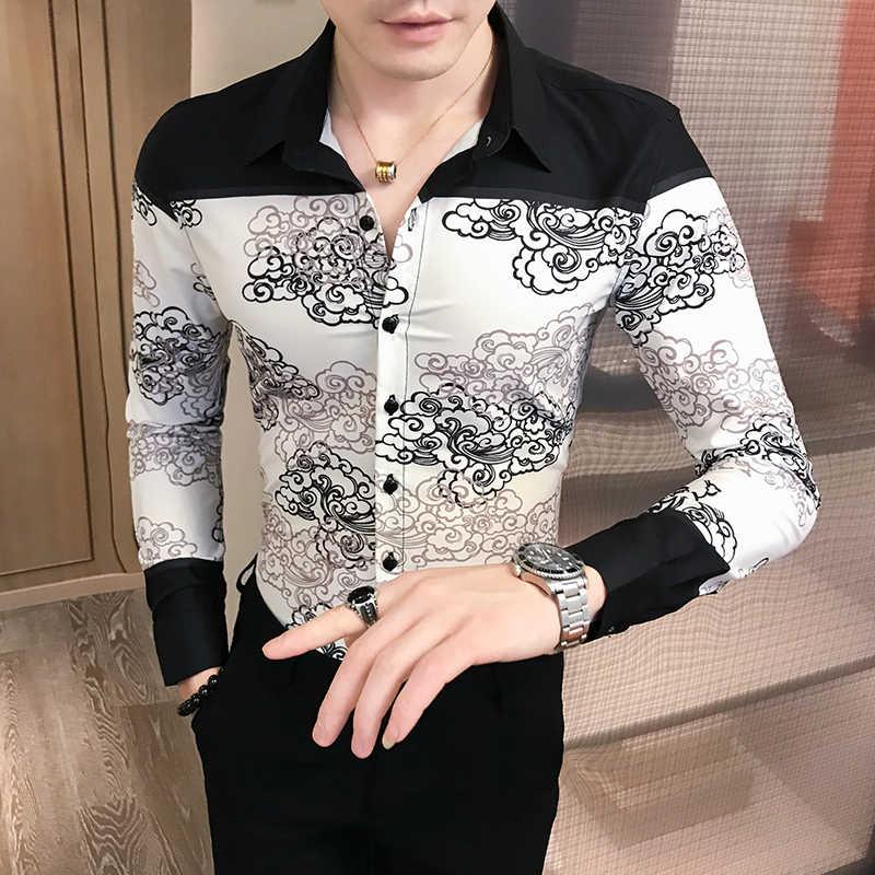スプライスシャツ男性服カミーサ Homem 花シャツ秋韓国中国風の印刷シャツの男長袖カミーサ Masculina