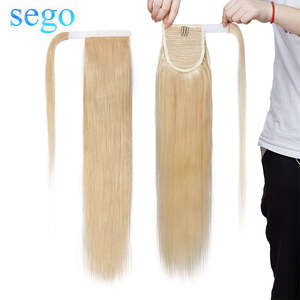 SEGO Hair-Extensions Ponytails Hair-Strap Human-Hair Real Around Wrap Clip-In for Women