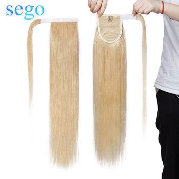 SEGO 14 #8222 -22 #8221 80g-95g prawdziwe ludzkie włosy kucyki włosy doczepiane Clip w indyjskie włosy pasek owinąć koński ogon dla kobiet tanie i dobre opinie Proste Remy włosy 100 g sztuka Ciemniejszy kolor tylko 1 sztuka tylko Clip-in Pure color Indyjski włosy 1 piece 100 human hair