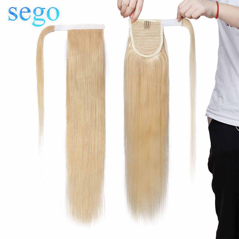 """SEGO 14 """"-22"""" człowieka włosy Ponytails włosy doczepiane Clip in indyjskie włosy pasek owinąć wokół kucyk dla kobiet 80g-95g"""