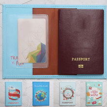 New Travel around the world map passport cover Landscape Passport Protective Cover PU Printed World Map Protective Cover