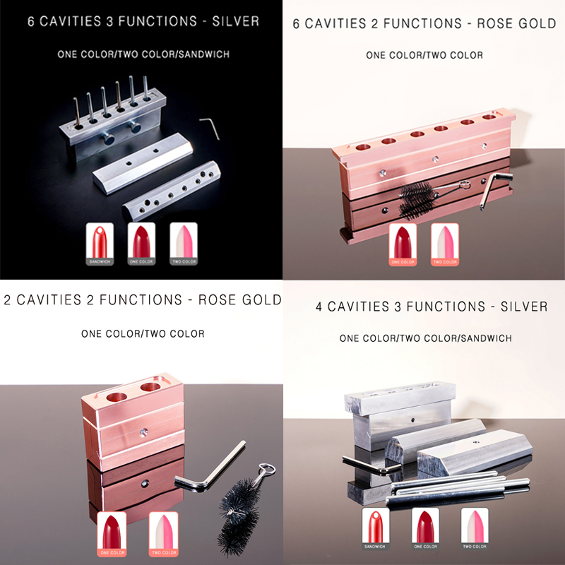 Multi Function 1set 2/4/6 Cavities 12.1mm Tear Drop Exquisite And Practical Aluminum Lipstick Filling Mold With Dismantling Tool