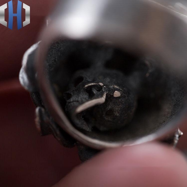 Schädel Ring S925 Sterling Silber Lokomotive Rock Dark Side Blume Runde Zurück Schädel Hand made Ring Ring - 3
