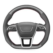 Ręcznie szyte czarne prawdziwa skóry zamszowe osłona na kierownicę do samochodu dla Audi A6 (C8) Avant Allroad 2018-2019 A7 (K8) 2018-2019 S6 S7 tanie tanio CN (pochodzenie) Górna Warstwa Skóry Kierownice i piasty kierownicy 0 35kg Feel comfortable and protect your steering wheel