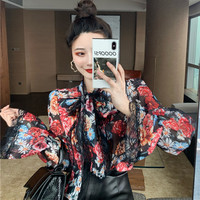Korean style CHIC Retro Versatile Trumpet Long Sleeve Lace Joint Printed Neckline Lace up Ribbon Chiffon Blouse Shirt Women's