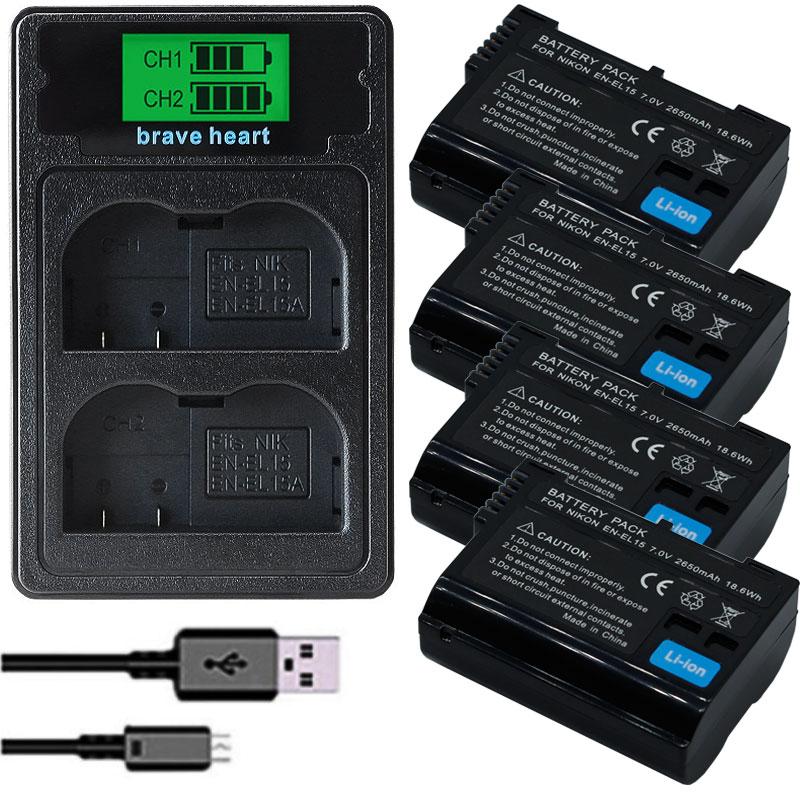 Bateria En EL15 EN-EL15A ENEL15 EN-EL15 Batterij Pack Voor Nikon D500 D600 D610 D750 D7000 D7100 D7200 D800 D800E D810 d810A & 1 V1