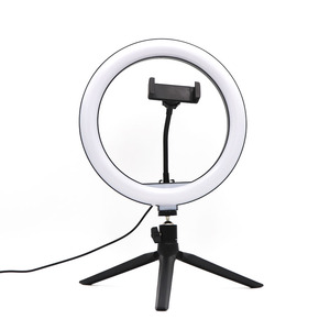Image 5 - 10 인치 USB 디 밍이 가능한 LED Selfie 링 라이트 스튜디오 링 라이트 카메라 전화 사진 비디오 메이크업 램프 전화 클립 홀더