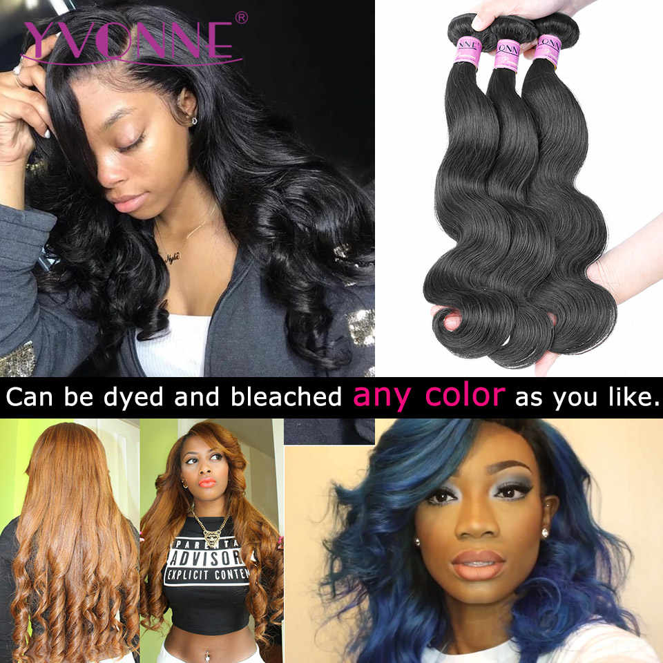 Yvonne Brazilian Body Wave Virgin Hair 1/3/4 Bundles Human Hair Weave Natural Color