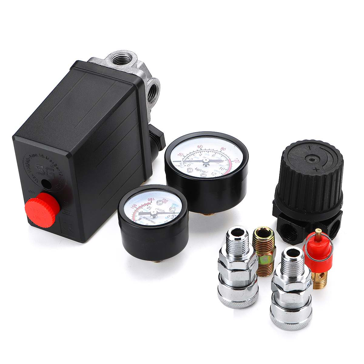 Image 2 - Воздушный компрессор насос переключатель контроля давления 4 порта 220В/380В регулятор сброса коллектора 30 120PSI контрольный клапан с манометромПневматические компоненты    АлиЭкспресс