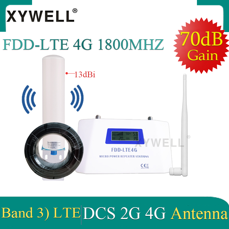 70dB Gain Cellular Signal Booster 1800 Gsm Repeater FDD LTE GSM 1800Hz Band3 4G DCS LTE 1800 Mobile Signal Booster 4G Amplifier