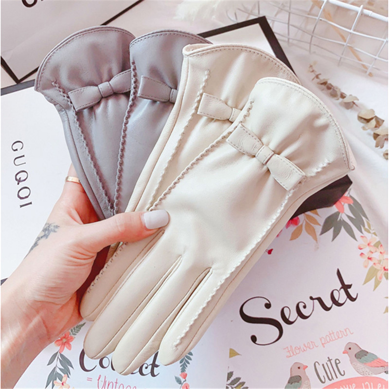 Sheepskin Gloves Female Autumn Winter Touch Screen Cute Bowknot Plus Velvet Thermal Driving Locomotive Real Leather Gloves 1205