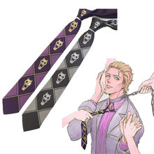 Anime necktie JoJo Bizarre Adventure KILLER QUEEN Kira Yoshikage Skull Neck Tie Cosplay Costumes Accessories man woman(China)