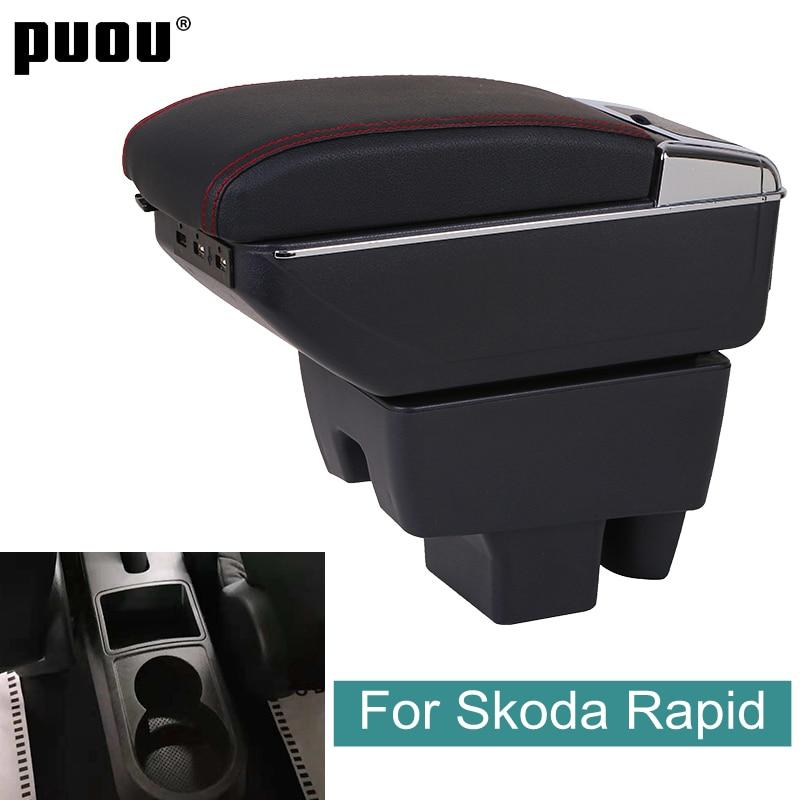 Для Skoda Rapid 2013 - 2020 поворотный подлокотник коробка центральный магазин содержание хранения интерьера автомобиля-Стайлинг подстаканник с