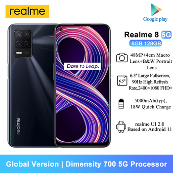 [World Premiere In Stock] Global Version Realme 8 5G Smartphones 6.5'' Dimensity 700 5G 48MP Camera 5000mAh 6GB 128GB Cellphones 1