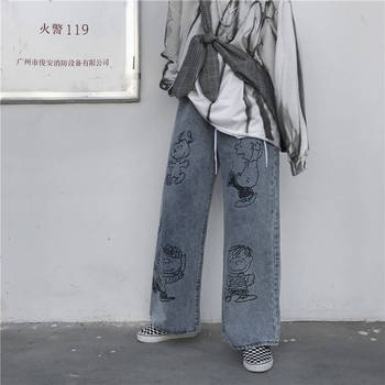 Retro cartoon print straight leg wide pants baggy jeans wide waist pants