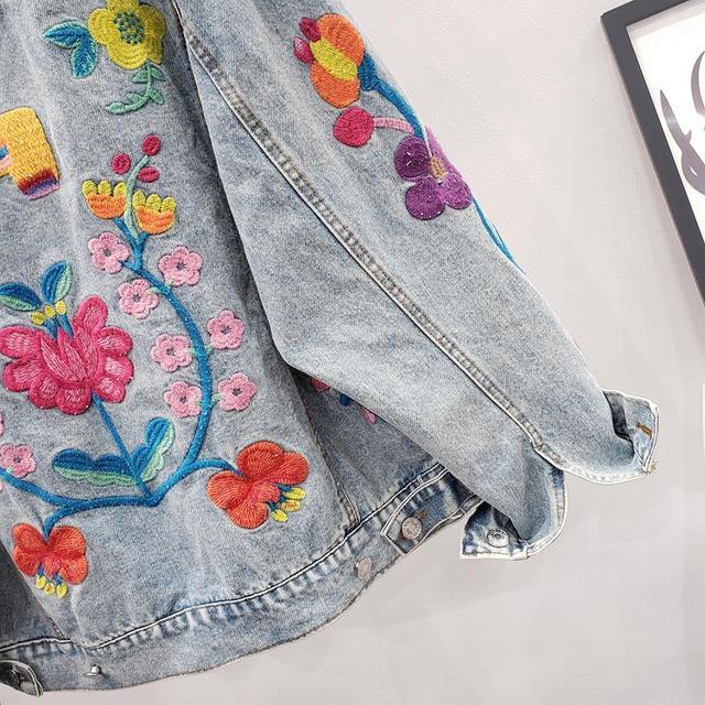 Купить весна 2020 винтажная синяя джинсовая куртка с цветочной вышивкой картинки